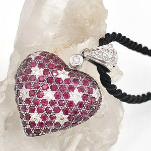 LeVian Ruby and Diamond 14K Gold Heart Necklace